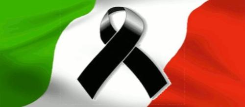 Bandiera italiana listata a lutto