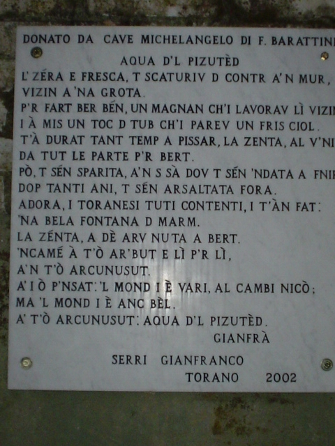 Torano - poesia in carrarino dedicata all'Acqua del Pizzutello